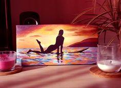 Petite peinture d'une surfeuse au sunset :)  Acrylique sur toile 30x15 cm Pastel, Creations, Painting, Art, Toile, Paint, Drawing Drawing, Art Background, Cake
