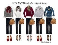 """""""Fall Wardrobe - Black Jeans"""" by bluehydrangea ❤ liked on Polyvore featuring J.Crew, Madewell, Jeffrey Campbell, Gap, Sole Society, Stella & Dot and Brooks Brothers"""