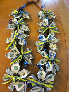 I specialize in hand made Money Leis. They are great gifts for birthdays, Weddings, Mothers day, GRADUATION or to congratulate anyone in dance/musical recitals, plays, game tournaments and retirement . Its a head turner and they will love this unique and one of a kind keepsake gift! Made with 30 x $2.00 bills ($60) WITH OR WITHOUT ribbons. OPTION to add 1-2 Solid color ribbons to match school colors.  All the leis were made in a non-smoking environment. The bills have been carefully folded…