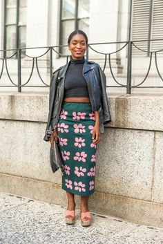 Fit is super important: We love the way this fitted midiskirt looks with a leather jacket thrown over the shoulders.