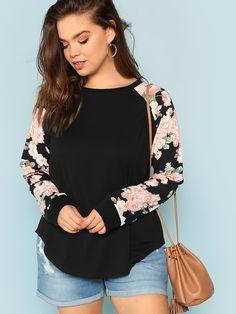 5f7384711 Plus Round Neck Floral Raglan Sleeve Top -SHEIN(SHEINSIDE) Estampas