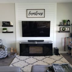 Your place to buy and sell all things handmade - Floating Shelf Rustic Shelf Open Shelving Nursery Shelf Accent Walls In Living Room, Living Room Accents, Wall Decor Living Room, Shiplap Living Room, Home, Interior, Living Room Tv Wall, Farm House Living Room, Home Living Room