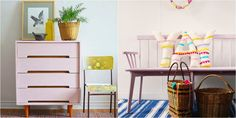 Chalk Paint® has a softer side! What do you think of these two? On the left, a dresser in Antoinette by former Painter In Residence Jelena of Poppyseed Creative Living; on the right, a Shaker style bench painted with a custom mix of Henrietta and Pure White by Australian lifestyle blogger Pip of Meet Me at Mike's.