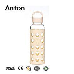 GEO 16 oz Borosilicate Glass BPA Free Leak-Proof Water Bottle w//Silicone Protective Sleeve