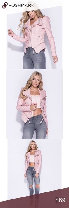 Pink Vegan Leather Moto Jacket High quality vegan leather fabric with zipper detail • European boutique brand • Model is size 4 wearing a small A Mermaid's Epiphany Jackets & Coats