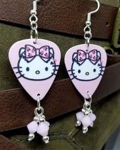 551c2ce5c Hello Kitty Guitar Pick Earrings with White Alabaster Swarovski Crystal  Dangles #Swarovski #Chandelier Guitar