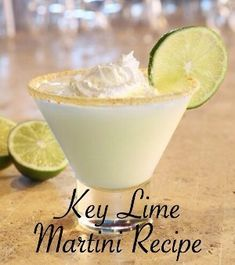 The Best Key Lime Pie Martini Recipe From Key West Florida - Trend Birthday Cocktail Recipes 2019 Martini Recipes, Alcohol Drink Recipes, Cocktail Recipes, Pie Recipes, Dessert Recipes, Lime Drinks, Fun Drinks, Yummy Drinks, Recipes