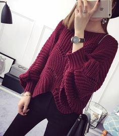 Бордовый пуловер спицами. Красивый пуловер спицами ажурным узором