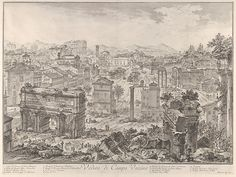 Giovanni Battista Piranesi, Italian, Veduta di Campo Vaccino (View of the Campo Vaccino [the Forum Romanum, from the Capitoline Hill]), from Vedute di Roma (Views of Rome) 1775 Etching platemark: x cm x 21 in.) The Arthur Ross Collection Rembrandt, Chinoiserie, Republic Of Venice, Art Gallery, Old Maps, Art Database, Italian Artist, Ancient Rome, Buy Prints