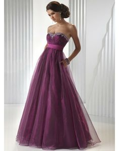Ball Gown Sweetheart A Line Organza Sash Beading Ruffles Beading Sequins Purple Prom DressOutlet