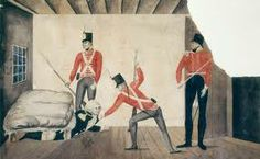 A picture of the rum rebellion, When the convicts and redcoats revolted when rum rations were cut off.