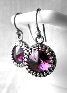 Amethyst Crystal Earrings Purple Swarovski Rivoli by ShySiren, $38.00