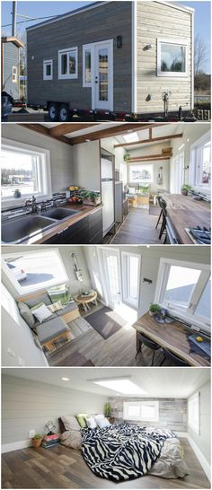 Fox Sparrow is a nice tiny house built by Rewild Homes. The tiny house features a spacious, modern interior with a large master loft and live edge breakfast bar. The kitchen is outfitted with a double black granite sink, stainless steel refrigerator, and a four burner propane cooktop. Soft-close drawers are used throughout the house.