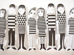 Scandinavian Jen Joe Morris and Mandy screen printed Jane Foster plush toys - retro modern geometric fabric
