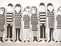 Scandinavian Jen Joe Morris and Mandy screen printed Jane Foster plush toys  - retro modern geometric fabric