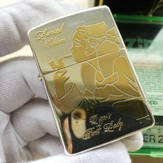 1994 Japanese Plated Silver and Gold Gilding Zippo Windy Girl Lighter Limited Edition Windy Girl, Panning For Gold, Cigar Lighters, Zippo Lighter, Gold Gilding, Pipes, Cigars, Silver Plate, Japanese
