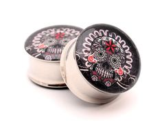 Gray Sugar Skull Picture Plugs gauges  1 by mysticmetalsorganics, $24.99