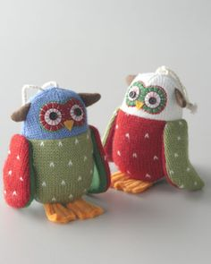 "Two ""Artisan"" Owl Christmas Ornaments at Horchow."
