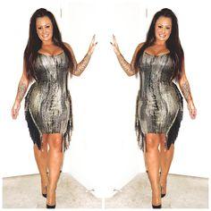 Ava Fringe Gold Zipper Bodycon Dress