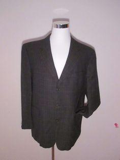 Ermenegildo Zegna Spiritoso Virgin Wool Mens 44 R Blazer Plaid Sport Coat  #ErmenegildoZegnaSpiritoso #ThreeButton
