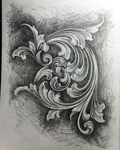 Wood Carving Patterns, Carving Designs, Scroll Tattoos, Motif Baroque, Leather Carving, Leather Tooling, Doodle Frames, Metal Engraving, Clay Design