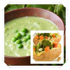 Green Pea Soup with Stuffed Potatoes