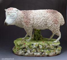Staffordshire pottery massive scale pearlware figure of a ewe circa 1820 period.