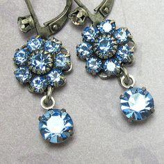 Light Blue Earrings Crystal Drop Rhinestone Flower and Swarovski