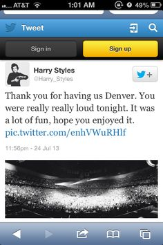 The fact that Hazza makes sure to tweet a pic of/nice little thank you to each crowd makes me love him even more. What a good guy. -E