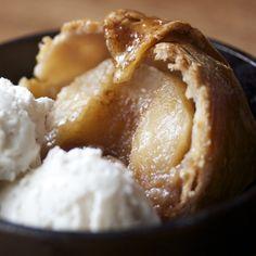 Baked apple dumplings with vanilla ice cream!
