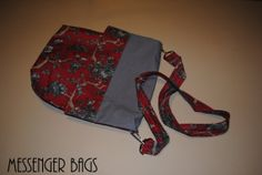 Red  Gray Messenger Bag by BandLCreations on Etsy, $28.00