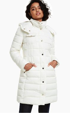 Women's long hooded padded coat, in a white down style. With three front pockets. Perfect for cold days. New Desigual Autumn-Winter collection. Free delivery and returns. Winter Essentials, Cold Day, Winter Collection, Winter Outfits, Fur Coat, Winter Jackets, Fabric, Stuff To Buy, Clothes
