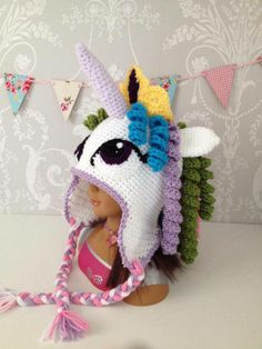 Princess Celestia My Little Pony hat hand crocheted and availabe to order from Kiddy Shack. These magical hats will surely be a big hit with all MLP fans....More ponies are also available or any other design can be made...