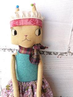 Princesa gata realizada en lienzo de algodón. por AntonAntonThings