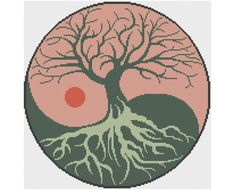 Yin-Yang Tree Of Life - Counted Cross Stitch Pattern by HornswoggleStore, $5.00 (pretty, nature, earth, yoga, feng shui)