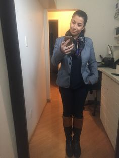 Casual Friday look: jeans, boots, jacket and a silk scarf