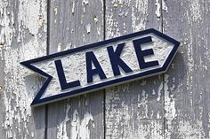wooden LAKE sign hand carved arrow wall art directional home decor lake house