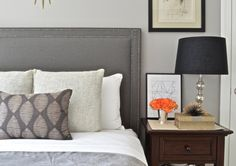 ShorelineHome ~ Upholstered Headboard, Oxford Shaped, 'Charcoal' Linen Slub Fabric, Antique Pewter Nailhead Trim w/ Grid Corner Design, Made to Order