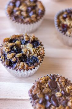 To Go Baked Oatmeal with your Favorite Toppings- A standard baked oatmeal recipe is prepared in a muffin tin and topped with your favorite flavors (chocolate, fruit, etc.). A great grab and go breakfast!