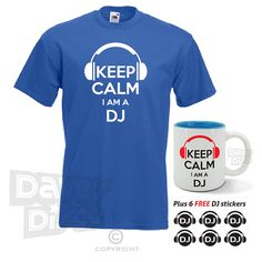 Keep calm I'm a DJ T-SHIRT and MUG set with free by davesdisco