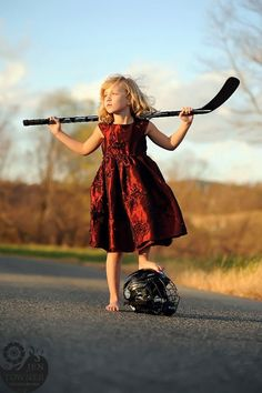 Hockey Photo. Girl hockey player in a dress. Jen Towner Photography. Unique sports portrait. Hockey player portrait.
