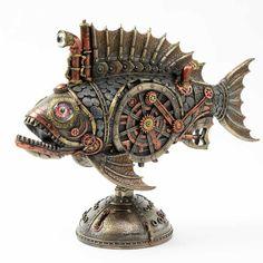 Steampunk Artwork, Steampunk Gun, Pottery Sculpture, Lion Sculpture, Mechanical Art, Fish Art, Art Object, Craft Patterns, Fantasy Creatures