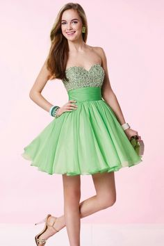 Glaring Sweetheart Short Green Chiffon A Line Cocktail Homecoming Dress Cac0073