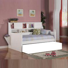 Coaster DISC. Transitional Functional White Bookcase Headboard Twin Daybeds Day Beds with Side Storage Carved Finials