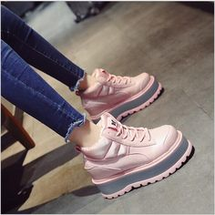 Women New Fashion Thick Sole Casual Wedge Lace Up Muffin Shoes High Top Boots Air Max Sneakers, Sneakers Nike, Punk Shoes, High Top Boots, New Fashion, Nike Air Max, High Tops, Muffin, Ankle Boots