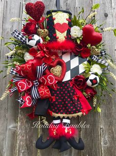 A personal favorite from my Etsy shop https://www.etsy.com/listing/584297247/queen-of-hearts-wreath-valentines-wreath