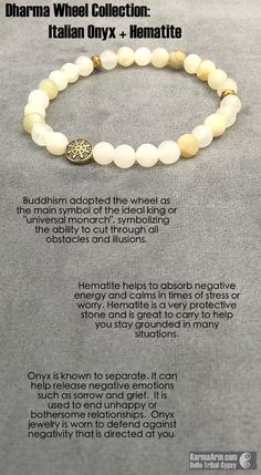 DHARMA WHEEL COLLECTION: Italian Onyx + Hematite Yoga Mala Bead Bracelet