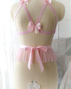d4c3566763 DDLG Daddys Girl Corset Sash Belt Pink Tulle Ruffles bow Mini Waist Skirt  Baby Pink Bow Bondage