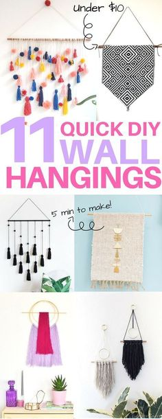 Cheap & easy DIY wall hangings you must see! diy home decor, diy wall art, diy apartment decor, 5 minute diy projects, boho decor