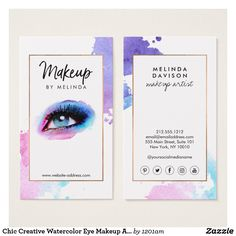 Chic Creative Watercolor Eye Makeup Artist Business Card - Fully Customizable